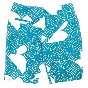 🦋 Trina Turk Blue White Floral Bermuda Shorts